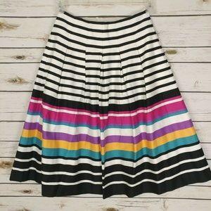 Banana Republic Women's Stripe Midi Skirt Pleats